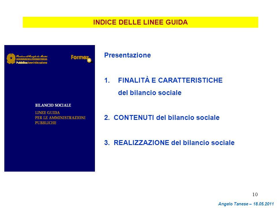 10 INDICE DELLE LINEE GUIDA Presentazione 1.FINALITÀ E CARATTERISTICHE del bilancio sociale 2. CONTENUTI del bilancio sociale 3. REALIZZAZIONE del bil