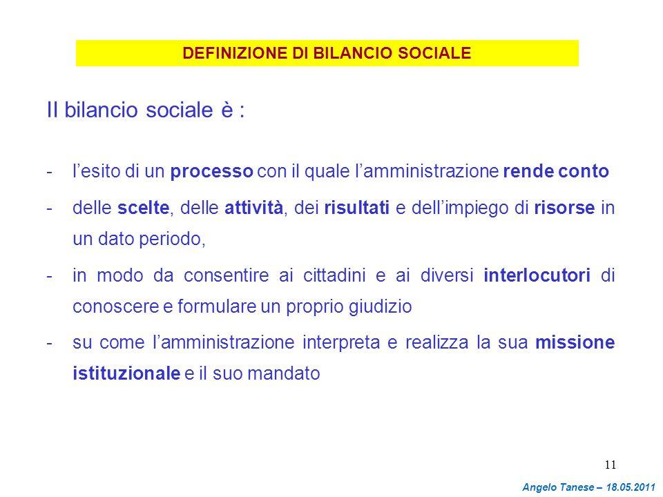 11 DEFINIZIONE DI BILANCIO SOCIALE II bilancio sociale è : - lesito di un processo con il quale lamministrazione rende conto - delle scelte, delle att