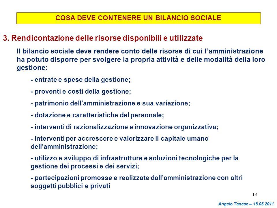 14 COSA DEVE CONTENERE UN BILANCIO SOCIALE 3. Rendicontazione delle risorse disponibili e utilizzate Il bilancio sociale deve rendere conto delle riso