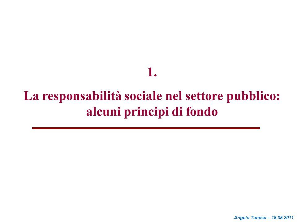1. La responsabilità sociale nel settore pubblico: alcuni principi di fondo Angelo Tanese – 18.05.2011