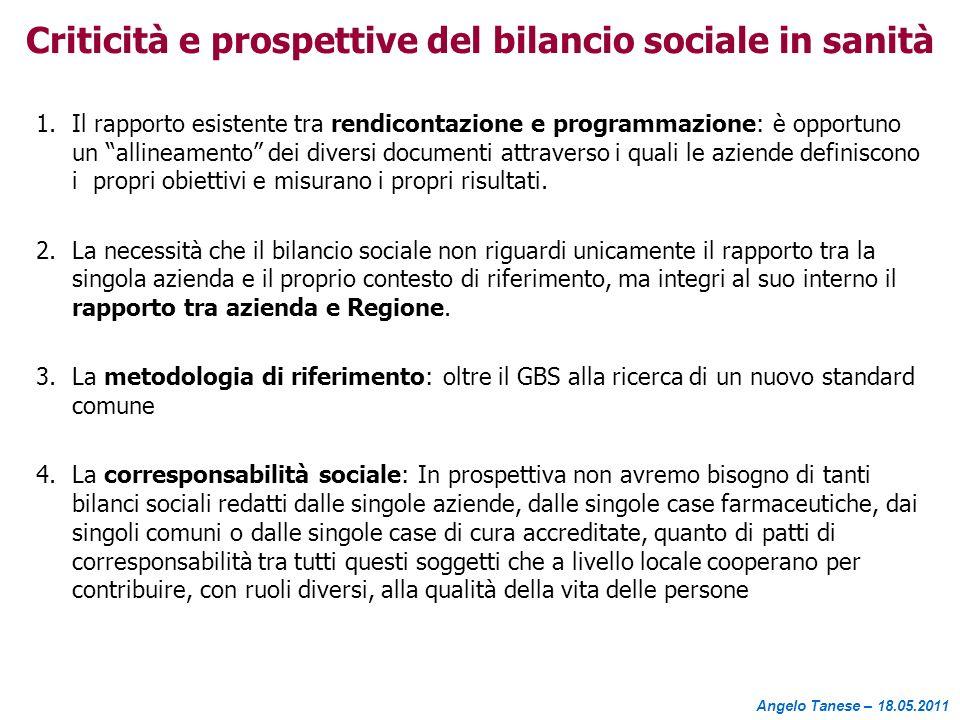Criticità e prospettive del bilancio sociale in sanità 1.Il rapporto esistente tra rendicontazione e programmazione: è opportuno un allineamento dei d