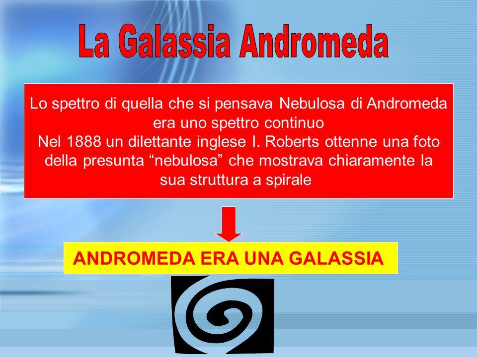 Lo spettro di quella che si pensava Nebulosa di Andromeda era uno spettro continuo Nel 1888 un dilettante inglese I. Roberts ottenne una foto della pr
