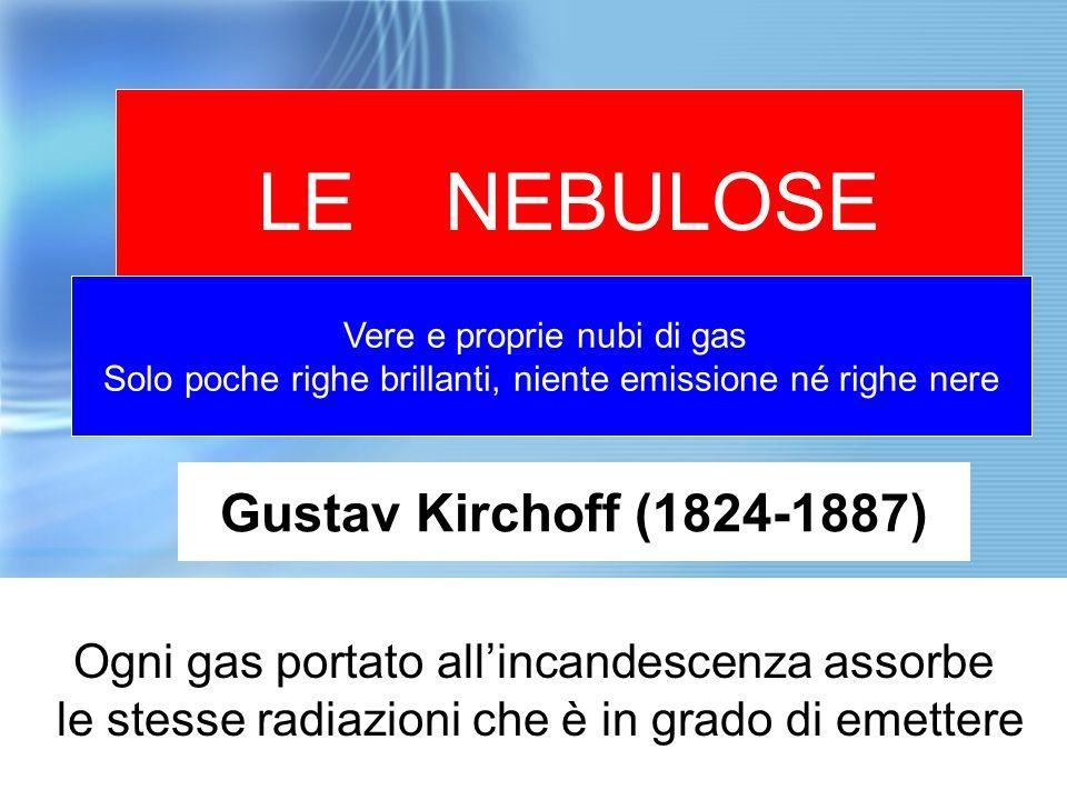 LE NEBULOSE Vere e proprie nubi di gas Solo poche righe brillanti, niente emissione né righe nere Gustav Kirchoff (1824-1887) Ogni gas portato allinca
