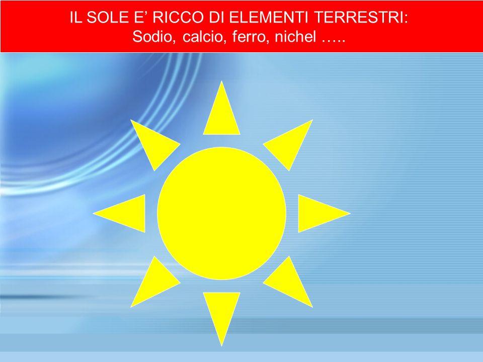 IL SOLE E RICCO DI ELEMENTI TERRESTRI: Sodio, calcio, ferro, nichel …..