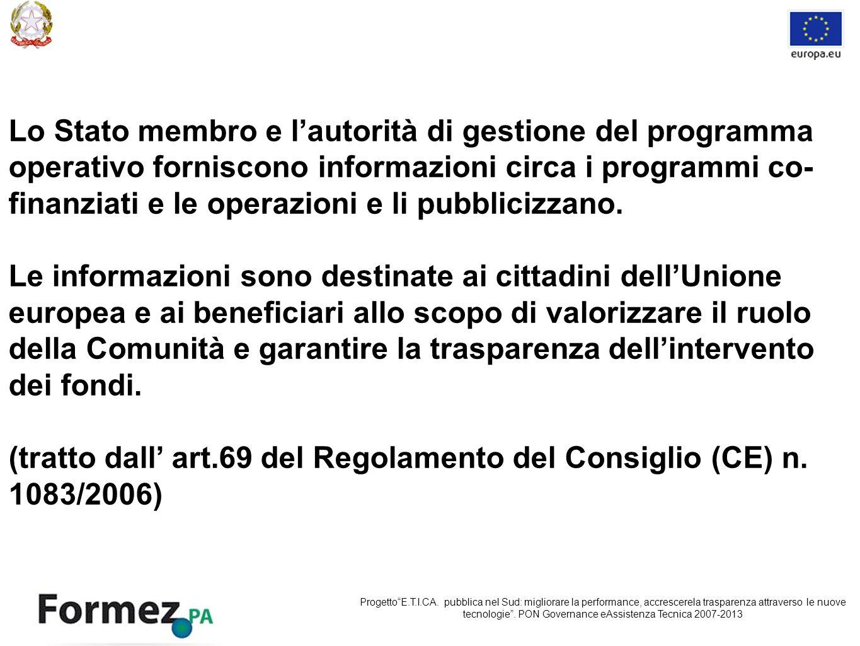 Lo Stato membro e lautorità di gestione del programma operativo forniscono informazioni circa i programmi co- finanziati e le operazioni e li pubblicizzano.