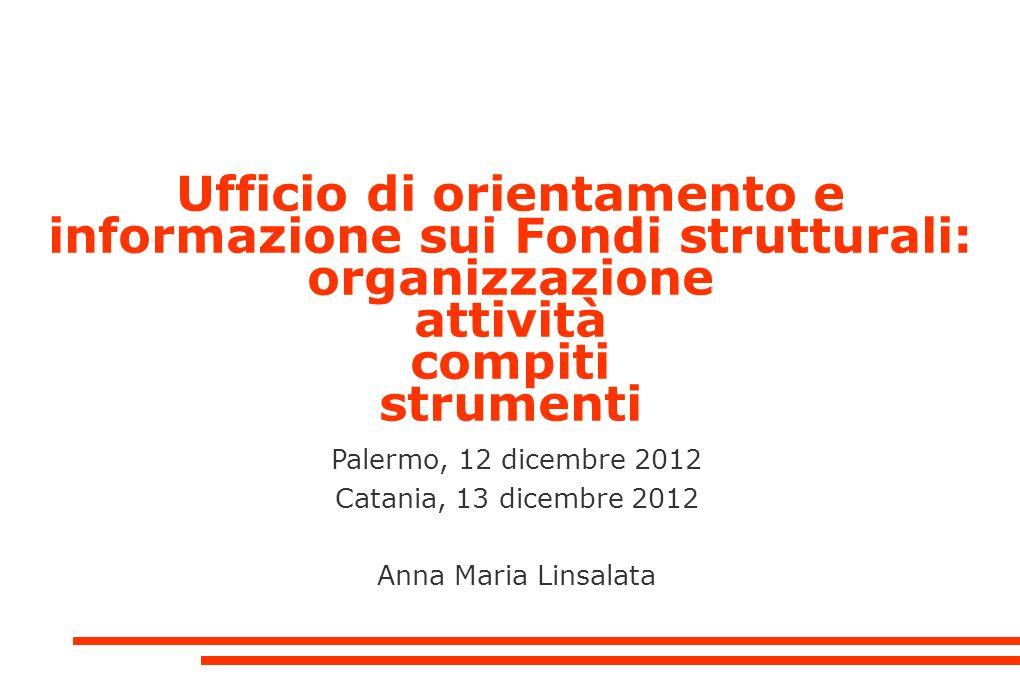 Ufficio di orientamento e informazione sui Fondi strutturali: organizzazione attività compiti strumenti Palermo, 12 dicembre 2012 Catania, 13 dicembre 2012 Anna Maria Linsalata