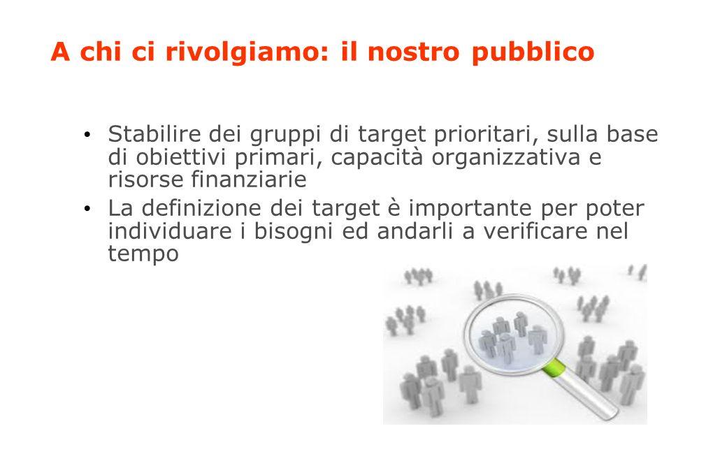 A chi ci rivolgiamo: il nostro pubblico Stabilire dei gruppi di target prioritari, sulla base di obiettivi primari, capacità organizzativa e risorse finanziarie La definizione dei target è importante per poter individuare i bisogni ed andarli a verificare nel tempo