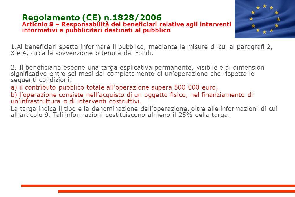 Regolamento (CE) n.1828/2006 Articolo 8 – Responsabilità dei beneficiari relative agli interventi informativi e pubblicitari destinati al pubblico 1.Ai beneficiari spetta informare il pubblico, mediante le misure di cui ai paragrafi 2, 3 e 4, circa la sovvenzione ottenuta dai Fondi.
