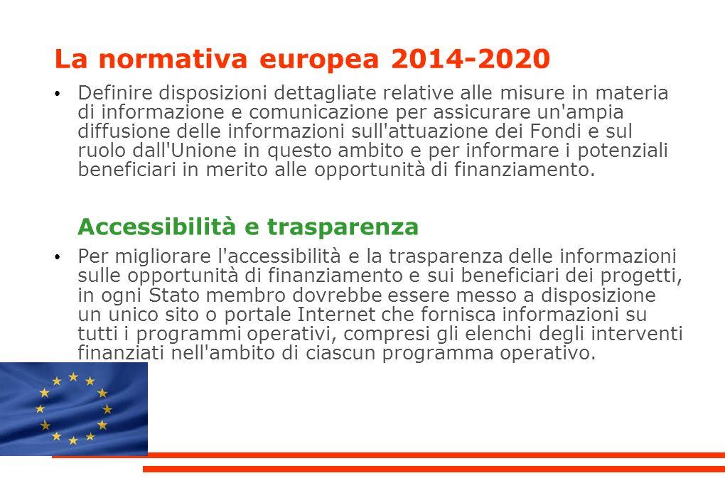 La normativa europea 2014-2020 Definire disposizioni dettagliate relative alle misure in materia di informazione e comunicazione per assicurare un ampia diffusione delle informazioni sull attuazione dei Fondi e sul ruolo dall Unione in questo ambito e per informare i potenziali beneficiari in merito alle opportunità di finanziamento.