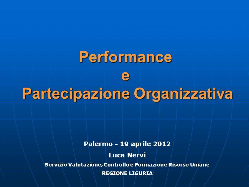 Performance e Partecipazione Organizzativa Palermo - 19 aprile 2012 Luca Nervi Servizio Valutazione, Controllo e Formazione Risorse Umane REGIONE LIGU