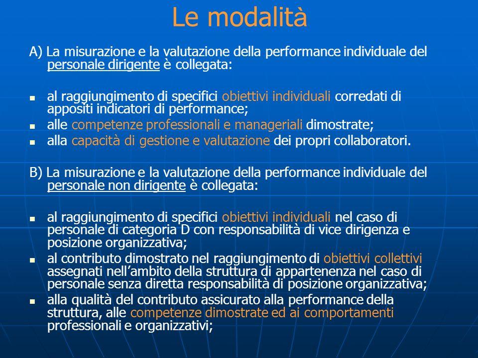 A) La misurazione e la valutazione della performance individuale del personale dirigente è collegata: al raggiungimento di specifici obiettivi individ