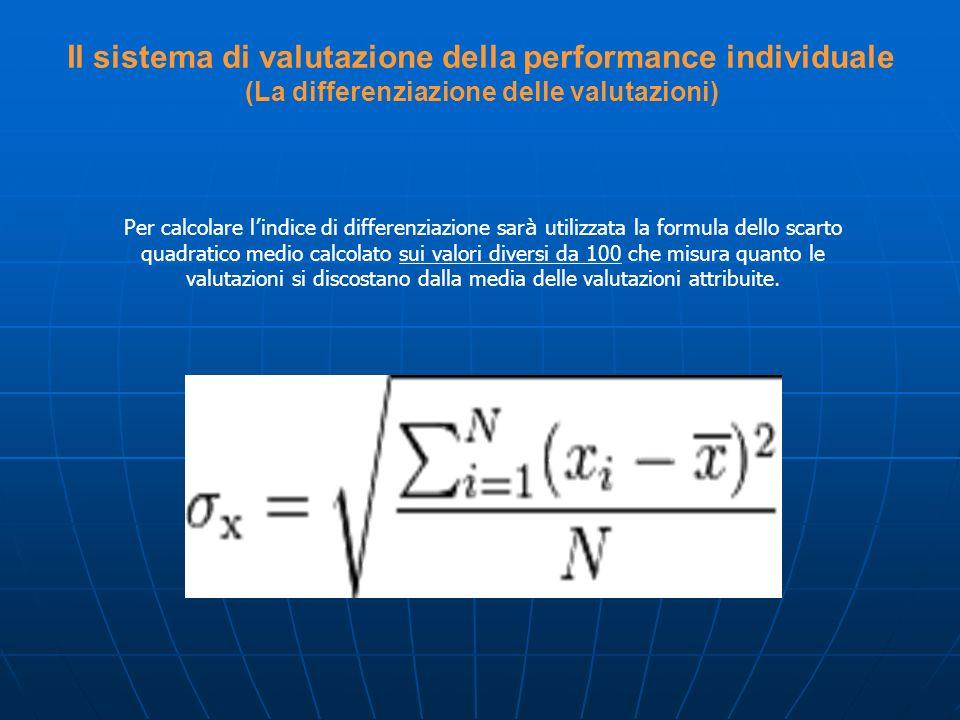Per calcolare l indice di differenziazione sar à utilizzata la formula dello scarto quadratico medio calcolato sui valori diversi da 100 che misura qu