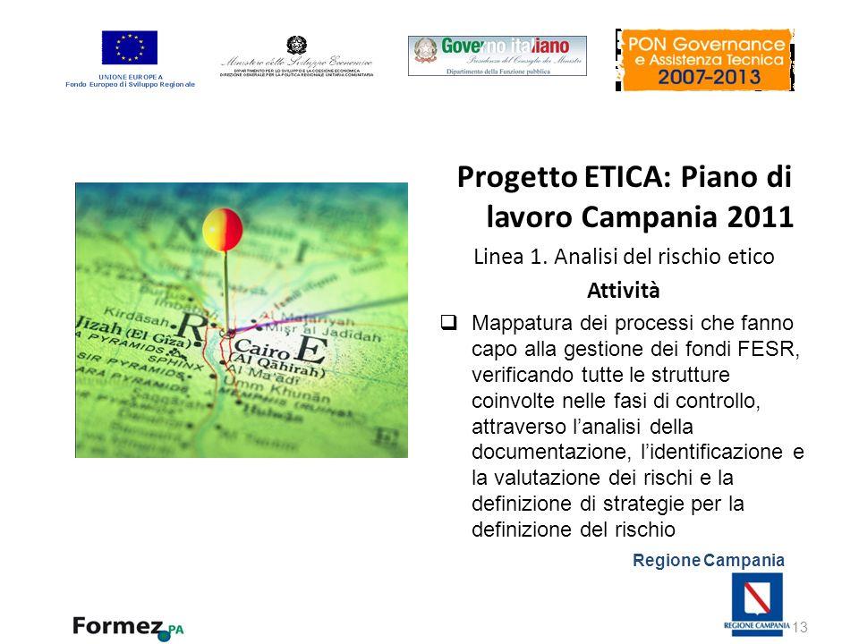 Regione Campania Progetto ETICA: Piano di lavoro Campania 2011 Linea 1. Analisi del rischio etico Attività Mappatura dei processi che fanno capo alla