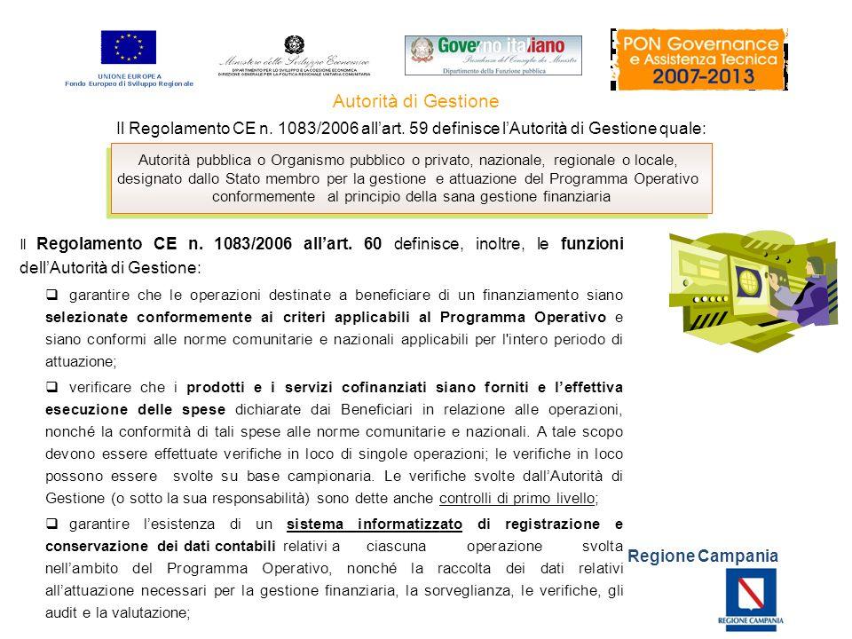 Regione Campania Il Regolamento CE n. 1083/2006 allart. 59 definisce lAutorità di Gestione quale: Autorità di Gestione Autorità pubblica o Organismo p