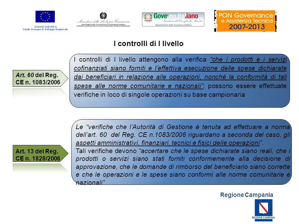Regione Campania I controlli di I livello attengono alla verifica che i prodotti e i servizi cofinanziati siano forniti e leffettiva esecuzione delle
