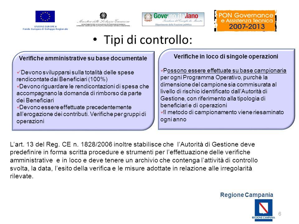 Regione Campania Tipi di controllo: 6 Lart. 13 del Reg. CE n. 1828/2006 inoltre stabilisce che lAutorità di Gestione deve predefinire in forma scritta