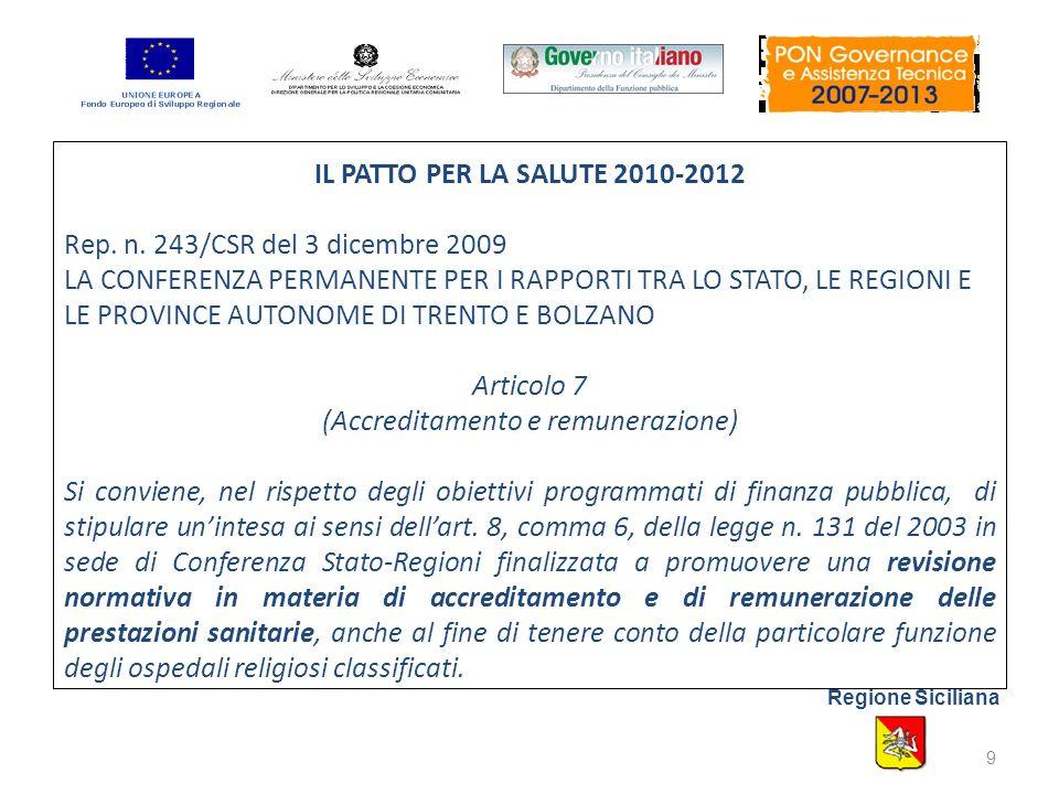 IL PATTO PER LA SALUTE 2010-2012 Rep. n.