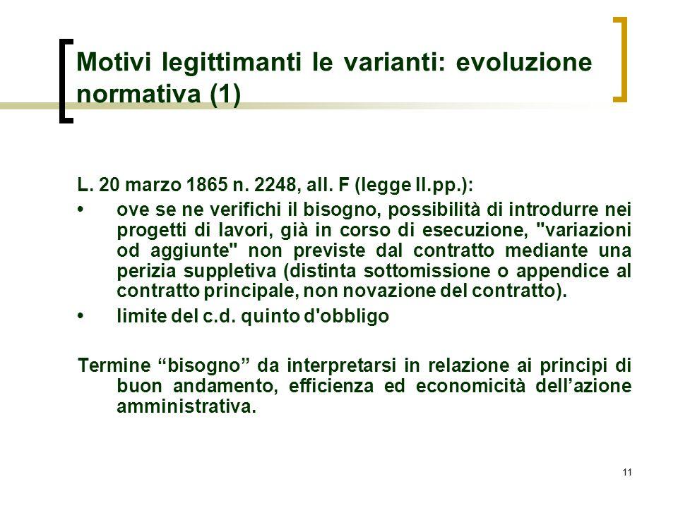 11 Motivi legittimanti le varianti: evoluzione normativa (1) L. 20 marzo 1865 n. 2248, all. F (legge ll.pp.): ove se ne verifichi il bisogno, possibil