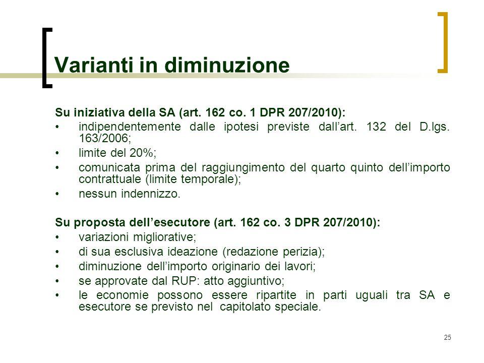 25 Varianti in diminuzione Su iniziativa della SA (art. 162 co. 1 DPR 207/2010): indipendentemente dalle ipotesi previste dallart. 132 del D.lgs. 163/