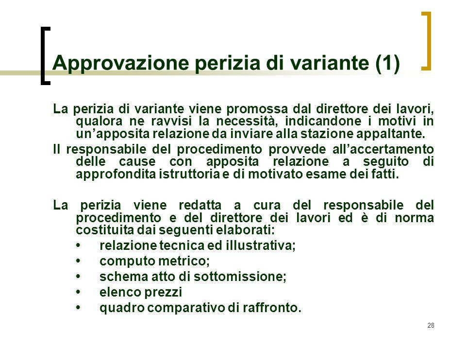28 Approvazione perizia di variante (1) La perizia di variante viene promossa dal direttore dei lavori, qualora ne ravvisi la necessità, indicandone i