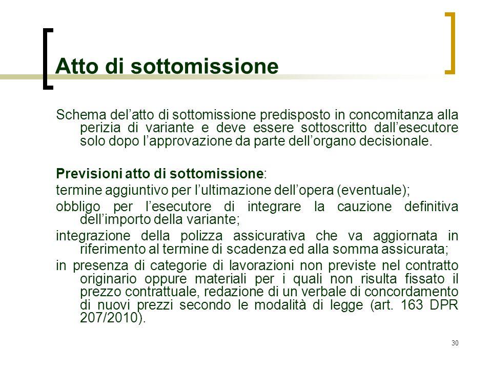 30 Atto di sottomissione Schema delatto di sottomissione predisposto in concomitanza alla perizia di variante e deve essere sottoscritto dallesecutore