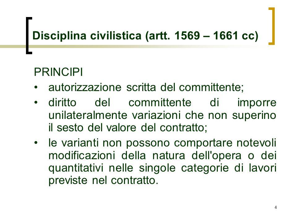 44 Disciplina civilistica (artt. 1569 – 1661 cc) PRINCIPI autorizzazione scritta del committente; diritto del committente di imporre unilateralmente v