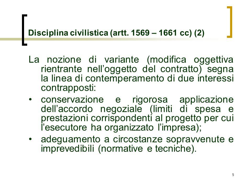 55 Disciplina civilistica (artt. 1569 – 1661 cc) (2) La nozione di variante (modifica oggettiva rientrante nelloggetto del contratto) segna la linea d