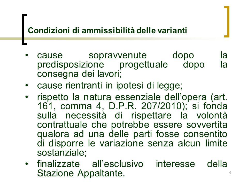 99 Condizioni di ammissibilità delle varianti cause sopravvenute dopo la predisposizione progettuale dopo la consegna dei lavori; cause rientranti in