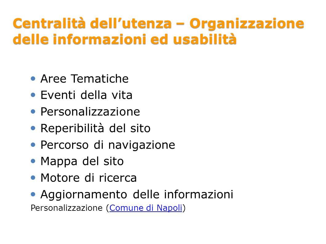 Centralità dellutenza – Organizzazione delle informazioni ed usabilità Aree Tematiche Eventi della vita Personalizzazione Reperibilità del sito Percor