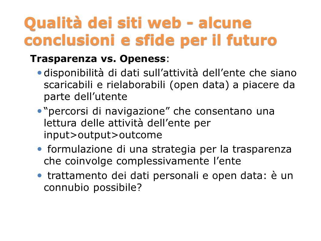 Qualità dei siti web - alcune conclusioni e sfide per il futuro Trasparenza vs. Openess: disponibilità di dati sullattività dellente che siano scarica