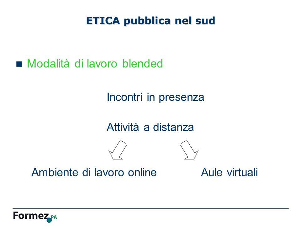 ETICA pubblica nel sud Modalità di lavoro blended Incontri in presenza Attività a distanza Ambiente di lavoro onlineAule virtuali