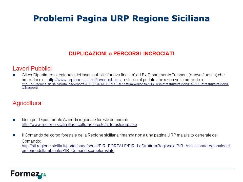 DUPLICAZIONI o PERCORSI INCROCIATI Lavori Pubblici Gli ex Dipartimento regionale dei lavori pubblici (nuova finestra) ed Ex Dipartimento Trasporti (nuova finestra) che rimandano a: http://www.regione.sicilia.it/lavoripubblici/ esterno al portale che a sua volta rimanda a http://pti.regione.sicilia.it/portal/page/portal/PIR_PORTALE/PIR_LaStrutturaRegionale/PIR_AssInfrastruttureMobilita/PIR_InfrastruttureMobili taTrasportihttp://www.regione.sicilia.it/lavoripubblici/ http://pti.regione.sicilia.it/portal/page/portal/PIR_PORTALE/PIR_LaStrutturaRegionale/PIR_AssInfrastruttureMobilita/PIR_InfrastruttureMobili taTrasporti Agricoltura Idem per Dipartimento Azienda regionale foreste demaniali http://www.regione.sicilia.it/agricolturaeforeste/azforeste/urp.asp http://www.regione.sicilia.it/agricolturaeforeste/azforeste/urp.asp Il Comando del corpo forestale della Regione siciliana rimanda non a una pagina URP ma al sito generale del Comando: http://pti.regione.sicilia.it/portal/page/portal/PIR_PORTALE/PIR_LaStrutturaRegionale/PIR_Assessoratoregionaledelt erritorioedellambiente/PIR_Comandocorpoforestale http://pti.regione.sicilia.it/portal/page/portal/PIR_PORTALE/PIR_LaStrutturaRegionale/PIR_Assessoratoregionaledelt erritorioedellambiente/PIR_Comandocorpoforestale Problemi Pagina URP Regione Siciliana