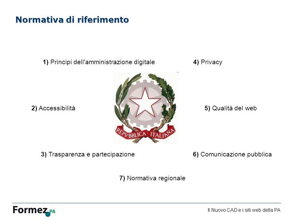 Il Nuovo CAD e i siti web della PA /100 Normativa di riferimento 1) Principi dell amministrazione digitale 2) Accessibilità 3) Trasparenza e partecipazione 4) Privacy 5) Qualità del web 6) Comunicazione pubblica 7) Normativa regionale