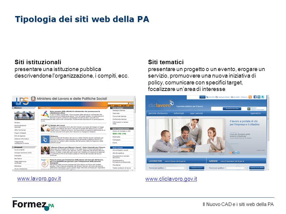 Il Nuovo CAD e i siti web della PA /100 Siti istituzionali presentare una istituzione pubblica descrivendone l organizzazione, i compiti, ecc.