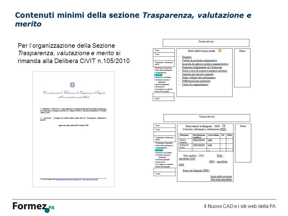 Il Nuovo CAD e i siti web della PA /100 Contenuti minimi della sezione Trasparenza, valutazione e merito Per lorganizzazione della Sezione Trasparenza, valutazione e merito si rimanda alla Delibera CiVIT n.105/2010