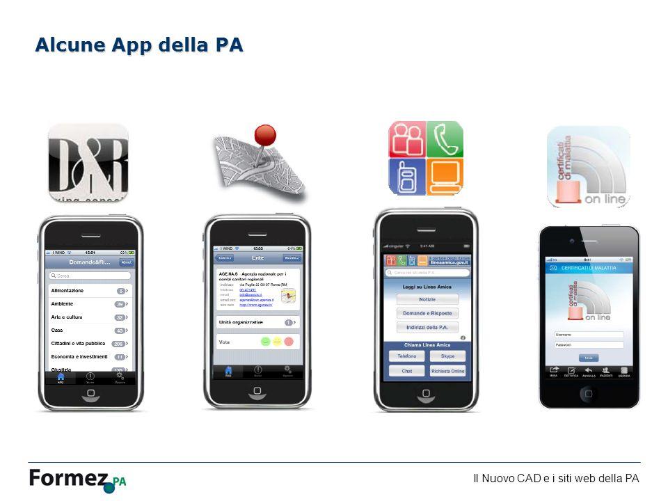 Il Nuovo CAD e i siti web della PA /100 Alcune App della PA
