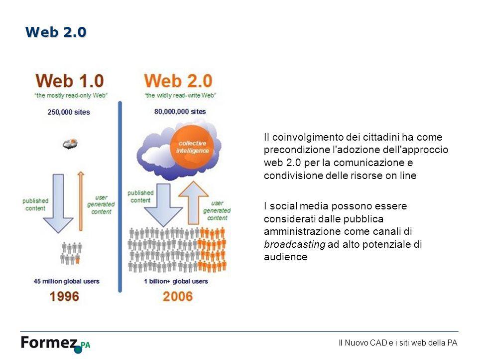 Il Nuovo CAD e i siti web della PA /100 Il coinvolgimento dei cittadini ha come precondizione l adozione dell approccio web 2.0 per la comunicazione e condivisione delle risorse on line I social media possono essere considerati dalle pubblica amministrazione come canali di broadcasting ad alto potenziale di audience Web 2.0