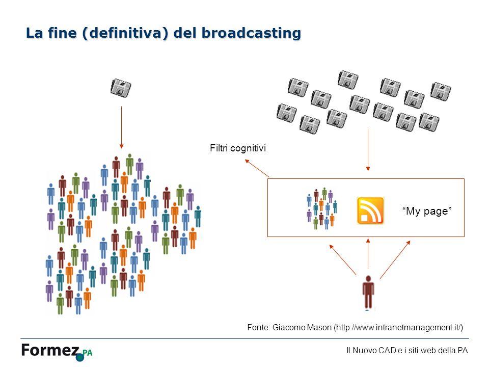 Il Nuovo CAD e i siti web della PA /100 La fine (definitiva) del broadcasting My page Filtri cognitivi Fonte: Giacomo Mason (http://www.intranetmanagement.it/)