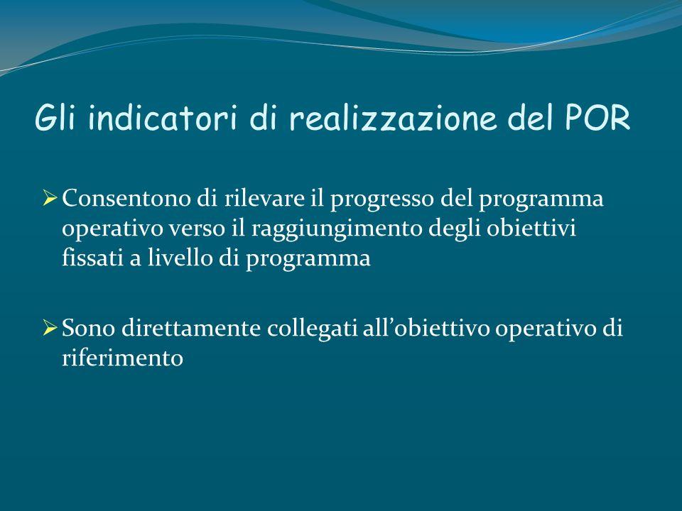 Gli indicatori di realizzazione del POR Consentono di rilevare il progresso del programma operativo verso il raggiungimento degli obiettivi fissati a