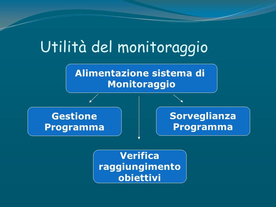 Utilità del monitoraggio Alimentazione sistema di Monitoraggio Gestione Programma Sorveglianza Programma Verifica raggiungimento obiettivi