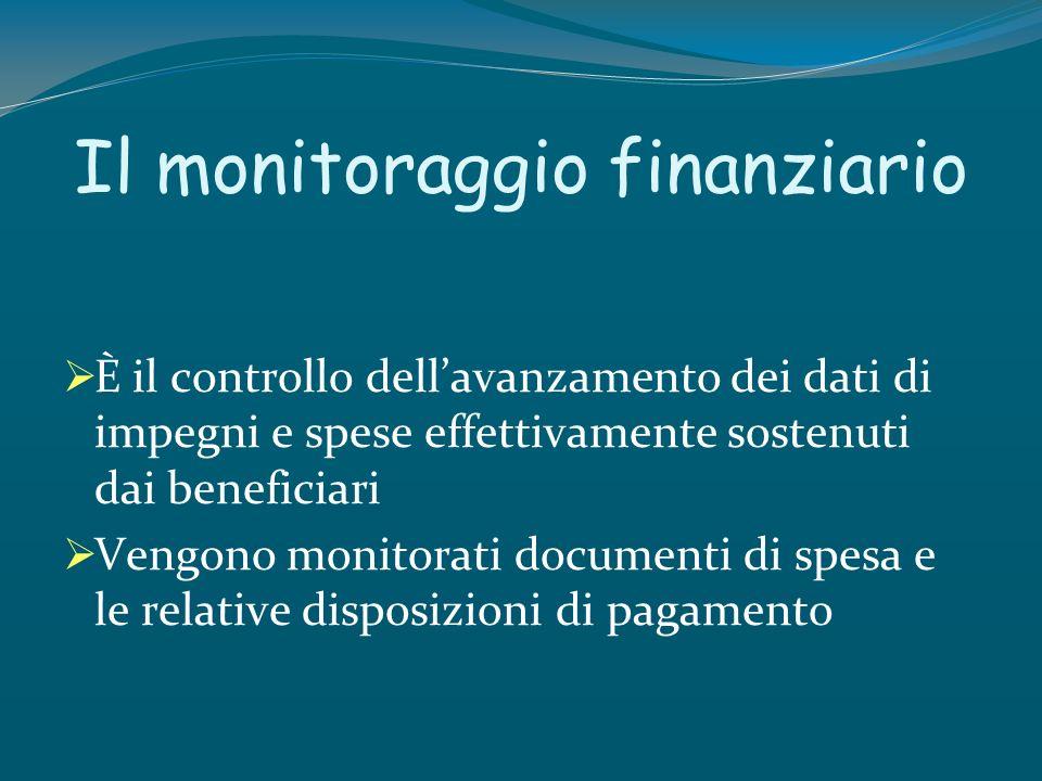 Il monitoraggio finanziario È il controllo dellavanzamento dei dati di impegni e spese effettivamente sostenuti dai beneficiari Vengono monitorati doc