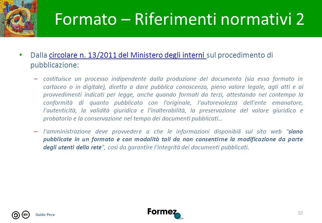 Guido Pera Formato – Riferimenti normativi 2 10 Dalla circolare n.