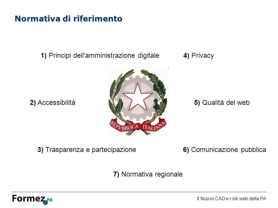 Il Nuovo CAD e i siti web della PA /100 Normativa di riferimento 1) Principi dell'amministrazione digitale 2) Accessibilità 3) Trasparenza e partecipa