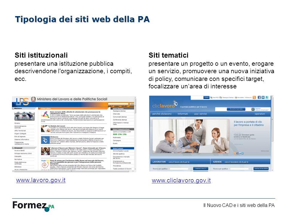 Il Nuovo CAD e i siti web della PA /100 Siti istituzionali presentare una istituzione pubblica descrivendone l'organizzazione, i compiti, ecc. Tipolog