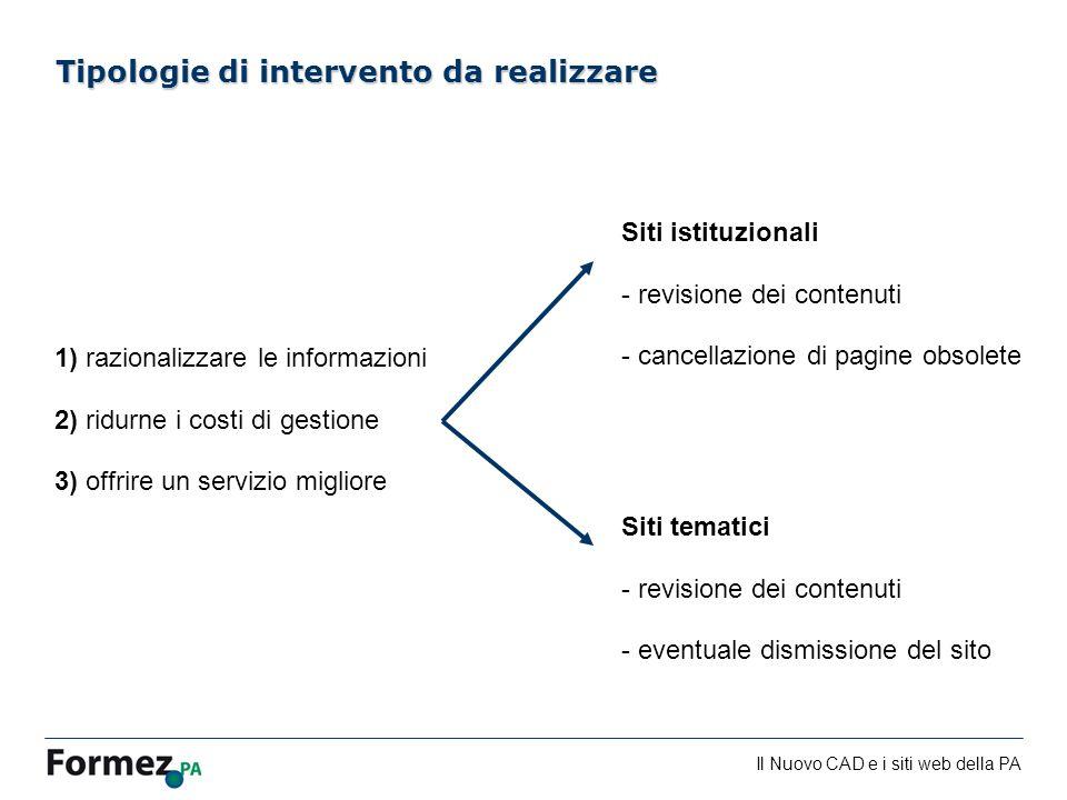 Il Nuovo CAD e i siti web della PA /100 1) razionalizzare le informazioni 2) ridurne i costi di gestione 3) offrire un servizio migliore Tipologie di