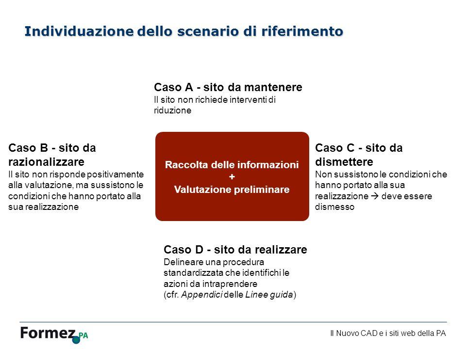 Il Nuovo CAD e i siti web della PA /100 Individuazione dello scenario di riferimento Raccolta delle informazioni + Valutazione preliminare Caso A - si