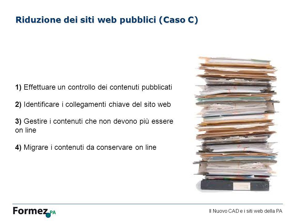Il Nuovo CAD e i siti web della PA /100 1) Effettuare un controllo dei contenuti pubblicati 2) Identificare i collegamenti chiave del sito web 3) Gest