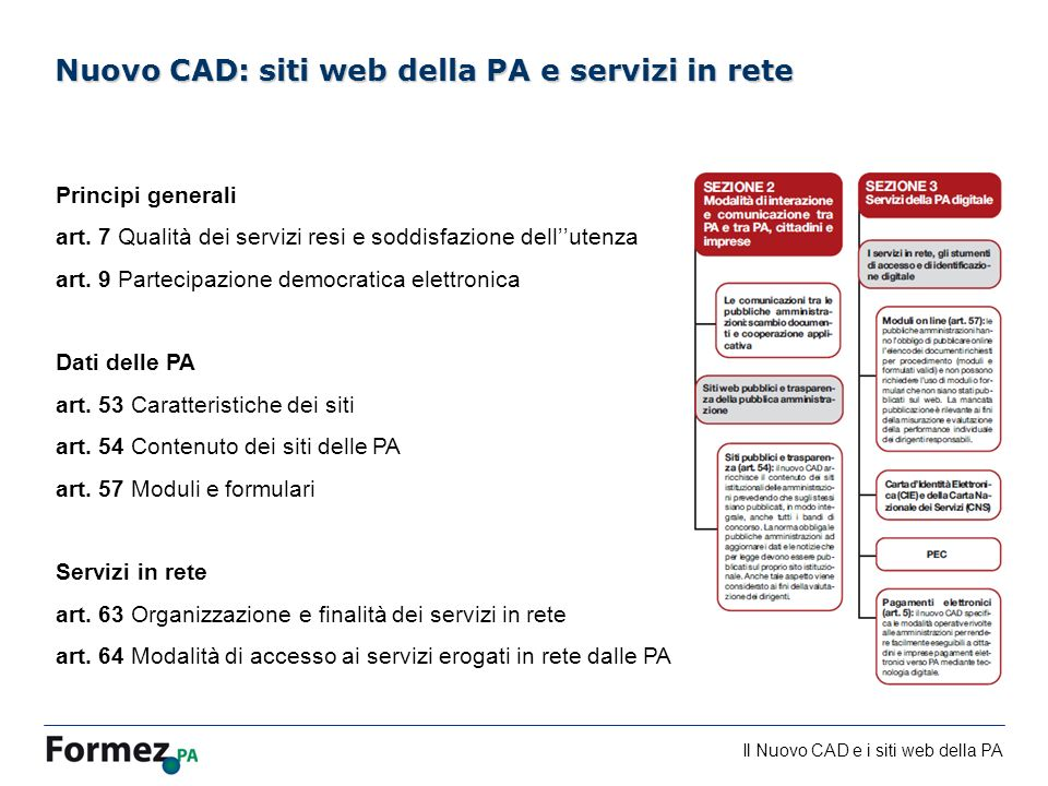 Il Nuovo CAD e i siti web della PA /100 Nuovo CAD: siti web della PA e servizi in rete Principi generali art. 7 Qualità dei servizi resi e soddisfazio