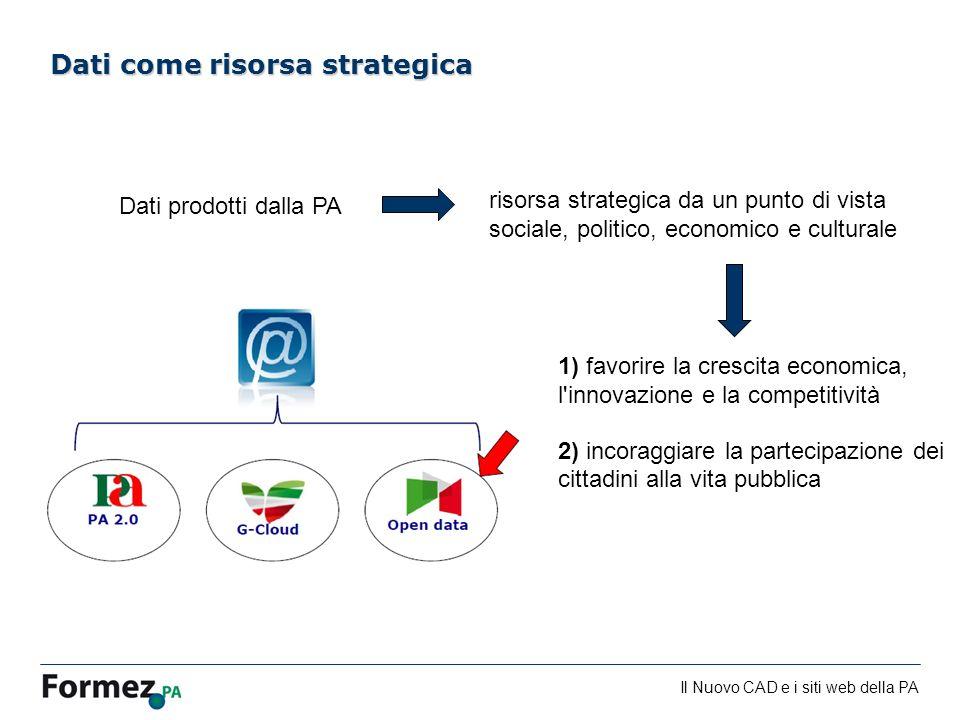 Il Nuovo CAD e i siti web della PA /100 risorsa strategica da un punto di vista sociale, politico, economico e culturale Dati come risorsa strategica