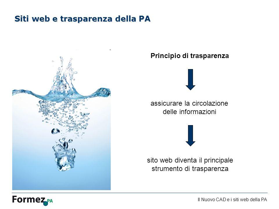 Il Nuovo CAD e i siti web della PA /100 Siti web e trasparenza della PA sito web diventa il principale strumento di trasparenza Principio di trasparen